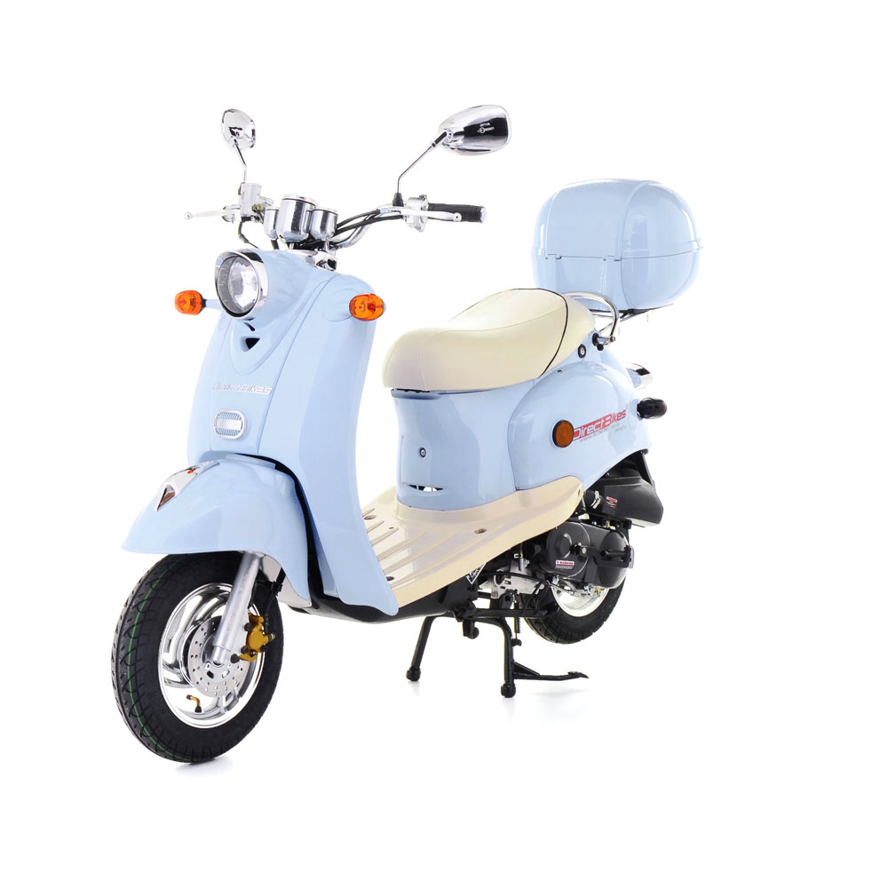 50cc scooter buy direct bikes retro 50cc scooters light blue. Black Bedroom Furniture Sets. Home Design Ideas