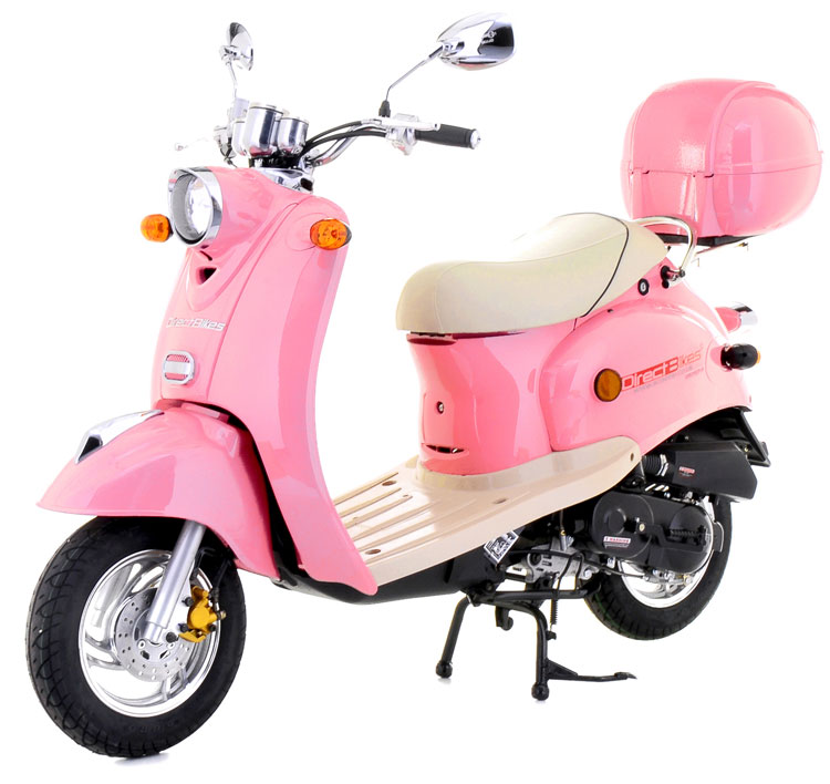 50cc scooter buy direct bikes retro 50cc scooters pink. Black Bedroom Furniture Sets. Home Design Ideas